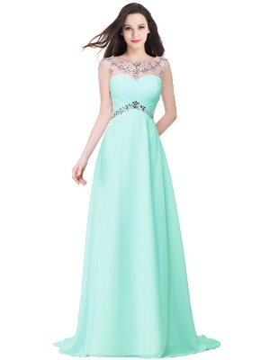 Cheap A-line Sweetheart Chiffon Evening Dress With Crystal in Stock_4