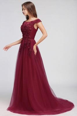 EMBER | A-line Off-shoulder Floor-length Tulle Appliques Prom Dresses_11
