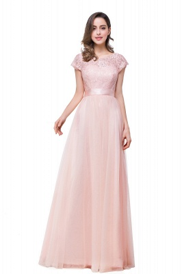 ELLIANA | Elegant Short Sleeves A-line Chiffon Bridesmaid Dresses with Ribbon Bow Sash_12