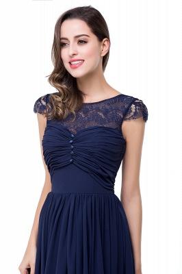 Cheap A-line Ruffles Ribbon Bow Capped Lace Chiffon Bridesmaid Dress in Stock_12
