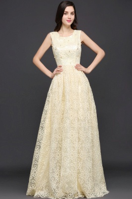 A-line Scoop Floor Length Evening Dress With Lace_7
