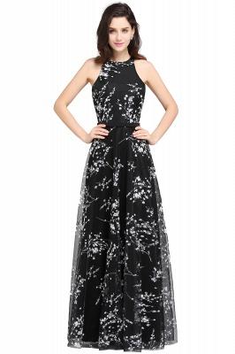 A-line Floor Length Black Evening Dresses with Flowers_1
