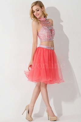 Cheap Sexy Crystal Beads Tulle Sleeveless Two-piece Short Prom Dress in Stock_16