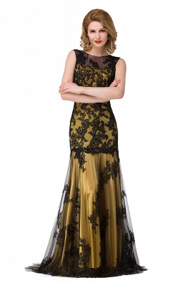 DANIELA | Scoop Neck lace Applique Mermaid Black Prom dresses_3