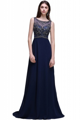 A-line Long Chiffon Dark Navy Vintage Prom Dresses with Rhinestones_2