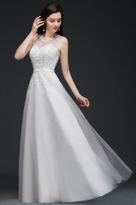 AMARI | A-Line Jewel Floor Length Tulle Wedding Dresses with Lace_8