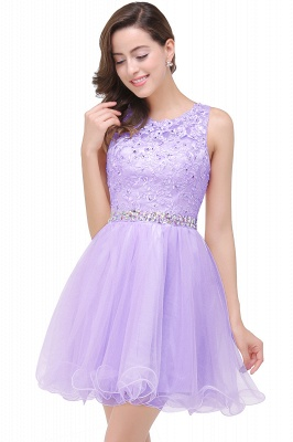 A-line Knee-length Tulle Cheap Prom Dress with Appliques&Crystal_4