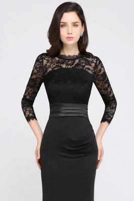 ARIANNA | Sheath High Neck Black Elegant Evening Dresses with Lace_8