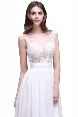 Cheap Elegant White Sheer Lace Chiffon Beach Wedding Dress in Stock_5