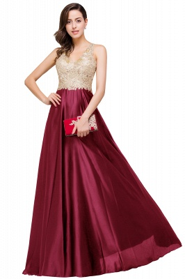 Cheap V-neck Satin Floor-Length A-Line Appliques Backless Prom Dress in Stock_2