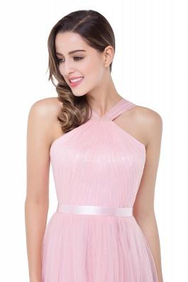 Cheap Sheath Pink Tulle Ribbon Sash Simple Bridesmaid Dress in Stock_11
