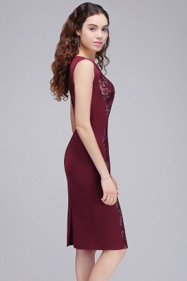 Cheap Cheap Burgungdy Cap Sleeve Lace Mermaid Homecoming Cocktail Party Dress in Stock_6