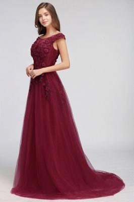 EMBER | A-line Off-shoulder Floor-length Tulle Appliques Prom Dresses_12