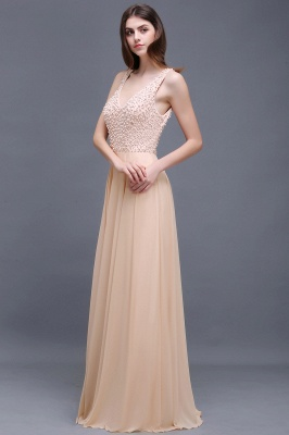 Sheath Sheer Chiffon Long Evening Dresses With Pearls_2