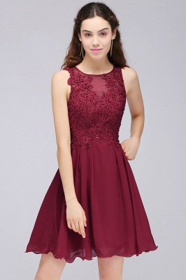 Cheap Burgundy A-line Homecoming Dress with Lace Appliques in Stock_9