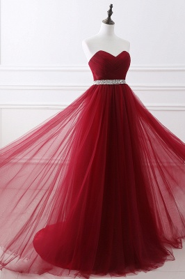 Cheap modest sweetheart sleeveless beading a-line prom dress in Stock_11