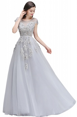 A-line Crew Short Sleeves Floor-length Appliques Tulle Prom Dresses_2