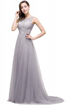 Cheap A-line Court Train Tulle Evening Dress with Appliques in Stock_8
