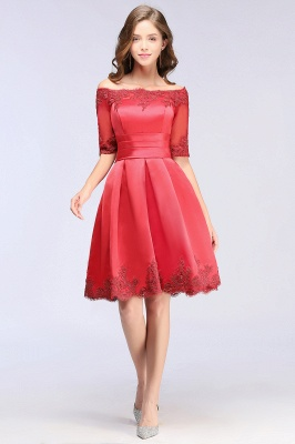 Cheap Chic Half Sleeve Lace-up Off-shoulder Lace Appliques Short Prom Dress in Stock_6
