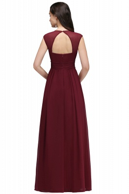 Cheap Vintage Burgundy Cap Sleeve Chiffon Long Evening Dress in Stock_11