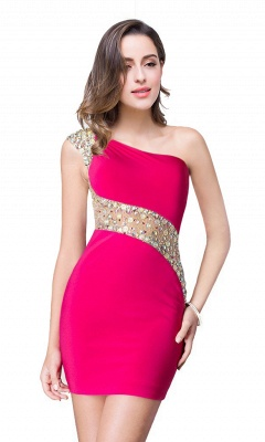 Cheap Cheap Crystal Beading One-shoulder Short Mermaid Prom Dress in Stock_3