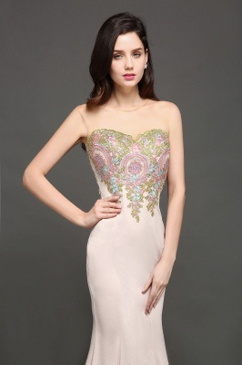 Mermaid Floor Length Pearl Pink Evening Dresses with Appliques_3