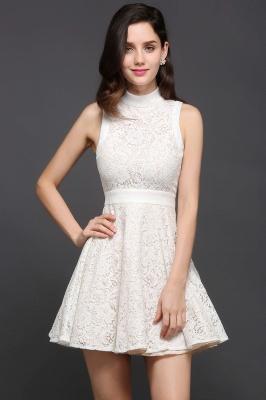 Princess High neck Knee-length White Cute Homecoming Dress_5