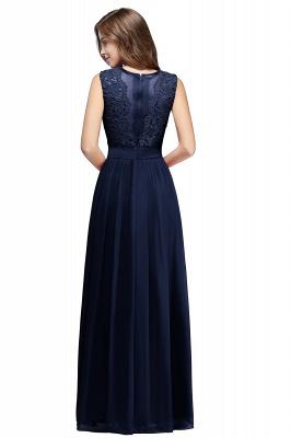 Elegant Sheath Crew Sleeveless Lace Top Chiffon Bridesmaid Dress_8
