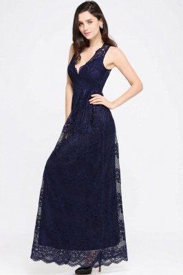 CHAYA | Sheath V-neck Floor-length Navy Blue Lace Prom Dress_11