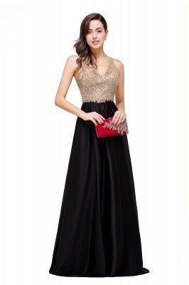 EMMALINE | A-Line Floor-Length V-neck Appliques Prom Dresses_14