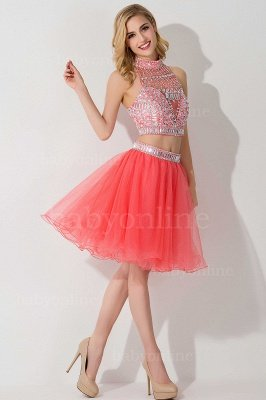 Cheap Sexy Crystal Beads Tulle Sleeveless Two-piece Short Prom Dress in Stock_14