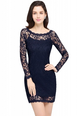 Lace Sheath Sexy Black Homecoming Dresses with Long Sleeves_6
