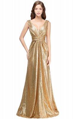 Cheap Elegant A-line Open Back Sequins Sleeveless V-neck Evening Dress in Stock_3