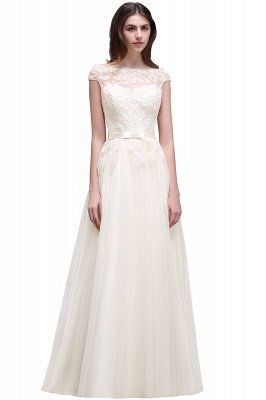 Champagne Evening  Prom Off-the-shoulder Floor-Length with-Belt Lace-Appliques Party Dress_1