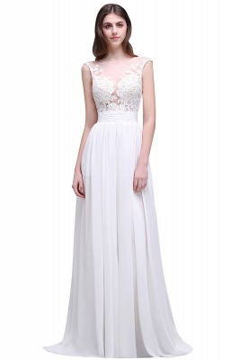Cheap Elegant White Sheer Lace Chiffon Beach Wedding Dress in Stock
