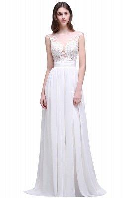 Cheap Elegant White Sheer Lace Chiffon Beach Wedding Dress in Stock