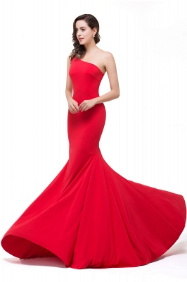 Cheap Red One-Shoulder Floor Length Mermaid Prom Dress in Stock_8