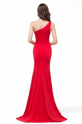Cheap Red One-Shoulder Floor Length Mermaid Prom Dress in Stock_3