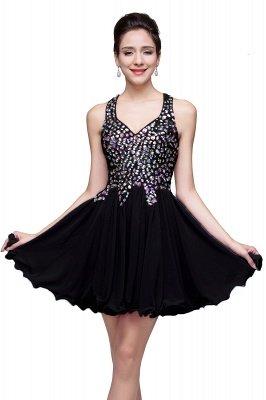 Cheap Chic Crisscross-straps Crystal Beads Ruffle Chiffon Sweetheart Short Prom Dress in Stock_5