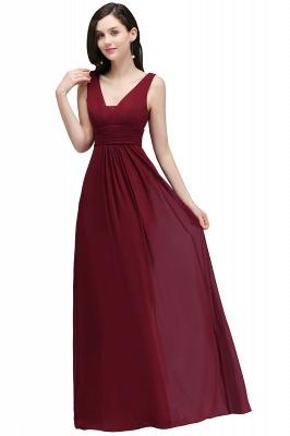 ALEXA   Sheath V Neck Burgundy Chiffon Long Evening Dresses_4