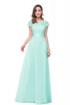 ELLIANA | Elegant Short Sleeves A-line Chiffon Bridesmaid Dresses with Ribbon Bow Sash_5