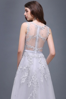 Cheap A-line Floor-length Tulle Prom Dress with Appliques in Stock_11