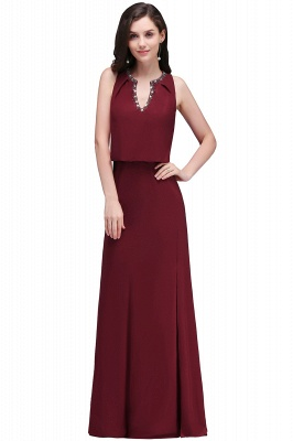 Cheap Front-split Crystal Floor-length V-neck Sleeveless Burgundy A-line Evening Dress in Stock_2