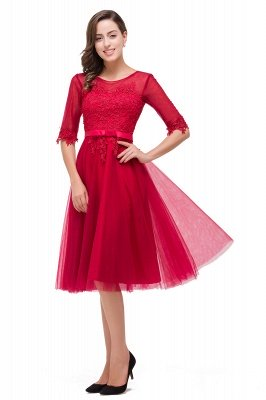 FINLEY | A-Line Half Sleeves Knee Length Tulle Prom Dresses with Embroidered Flowers_8