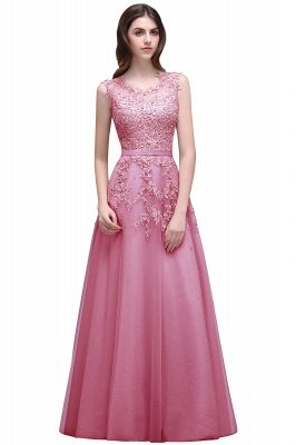 Cheap A-line Floor-length Tulle Prom Dress with Appliques in Stock_1
