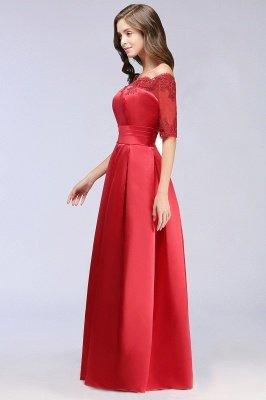 ELLISON | A-line Half Sleeve Floor-length Off-shoulder Appliques Prom Dresses_8