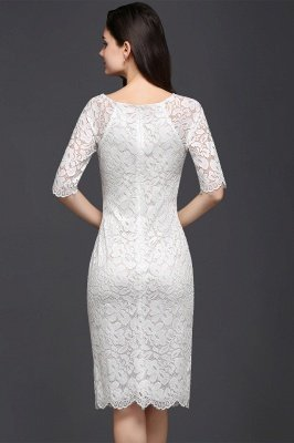 Lace Sleeve Short Knee-length Fashion Ivory Jewel Evening Dresses_5