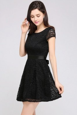 ARMANI | A-line Scoop Black Cheap Lace Homecoming Dress with Sash |_13