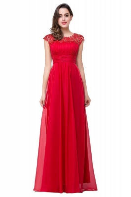 EMMELINE | Affordable A-Line Cap Sleeves Floor-Length Chiffon Prom Dresses