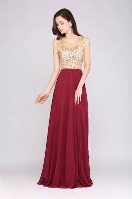 A-line Scoop Chiffon Burgundy Pretty Evening Dresses_4